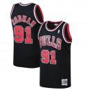 Hombre Chicago Bulls Dennis Rodman Mitchell & Ness Negro 1997-98 Hardwood Classics Swingman Camiseta Rebajas