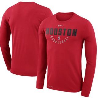 Rebajas en Hombre Houston Rockets Rojo Practice Manga larga Performance T-Shirt Madrid