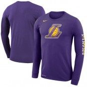 Hombre Los Angeles Lakers Púrpura Logo Manga larga T-Shirt Ventas Baratas Canarias