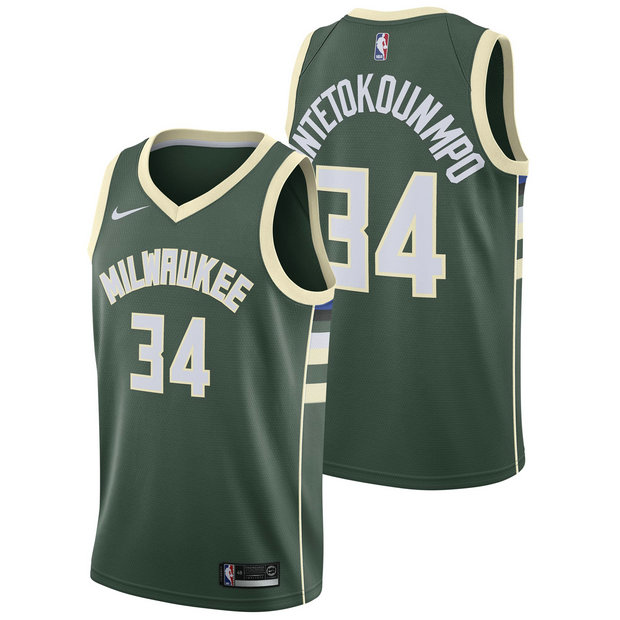 Giannis Antetokounmpo - Hombre Milwaukee Bucks Nike Icon Swingman Camiseta de la NBA