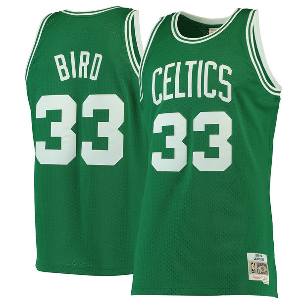 Hombre Boston Celtics Larry Bird Mitchell & Ness Kelly Green 1985-86 Hardwood Classics Swingman Camiseta