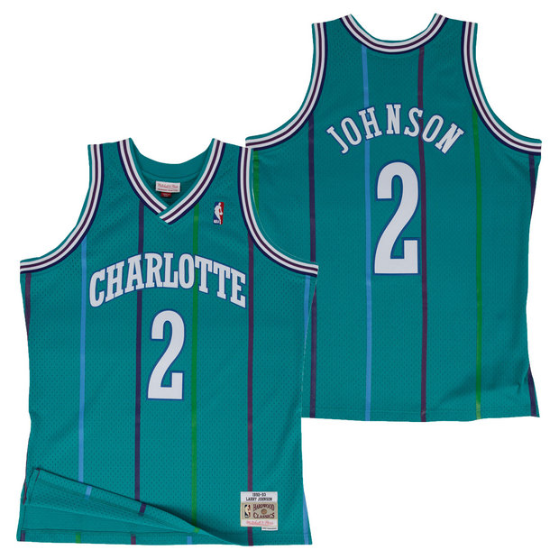Hombre Charlotte Hornets Larry Johnson Hardwood Classics Road Swingman Camiseta