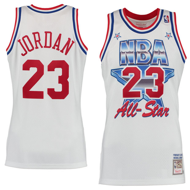 Hombre Chicago Bulls Michael Jordan Mitchell & Ness Blanco 1991 All-Star Hardwood Classics Authentic Camiseta