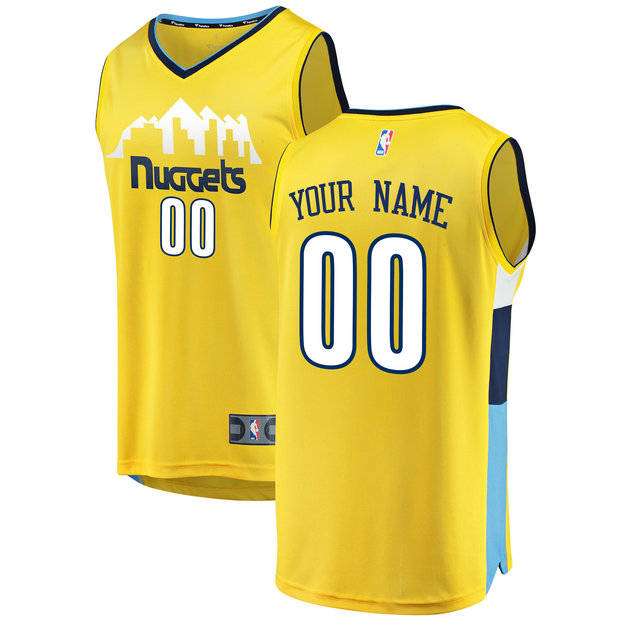 Hombre Denver Nuggets Fanatics Branded Gold Fast Break Camiseta Personalizada