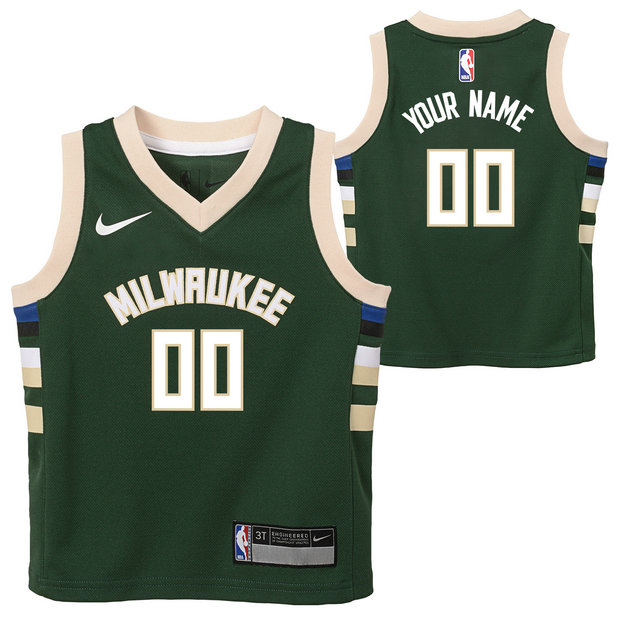 Milwaukee Bucks Nike Icon Replica Camiseta de la NBA - Personalizada - Niño