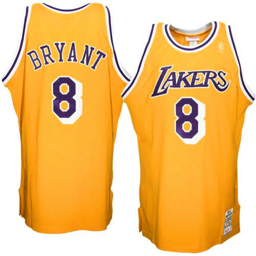 Mitchell & Ness Kobe Bryant Los Angeles Lakers 1996-1997 Hardwood Classics Throwback Authentic Home Camiseta - Oro