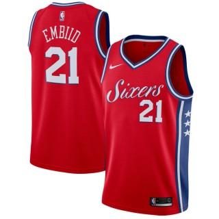 Moda Hombre Philadelphia 76ers Joel Embiid #21 Rojo Swingman Camiseta Statement Edition